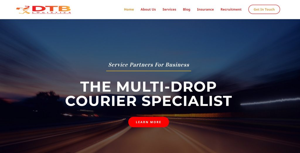 dtb logistics multi-drop courier website homepage